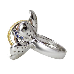 Embrace Soul, Spirit and Body - 18k White Gold Multicolor Sapphire and Black Diamond Flower Ring