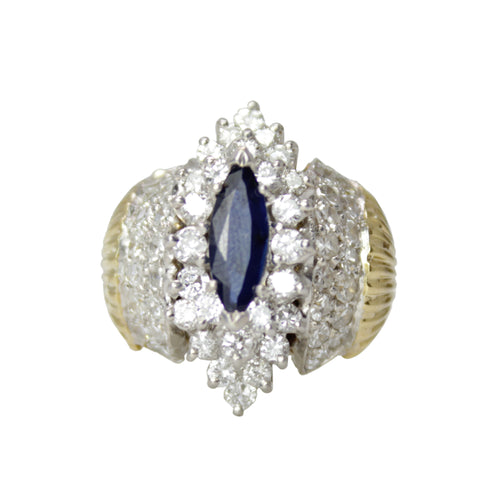 Royal Celebration -18k Yellow Gold Marquise Sapphire and Diamond Vintage Ring