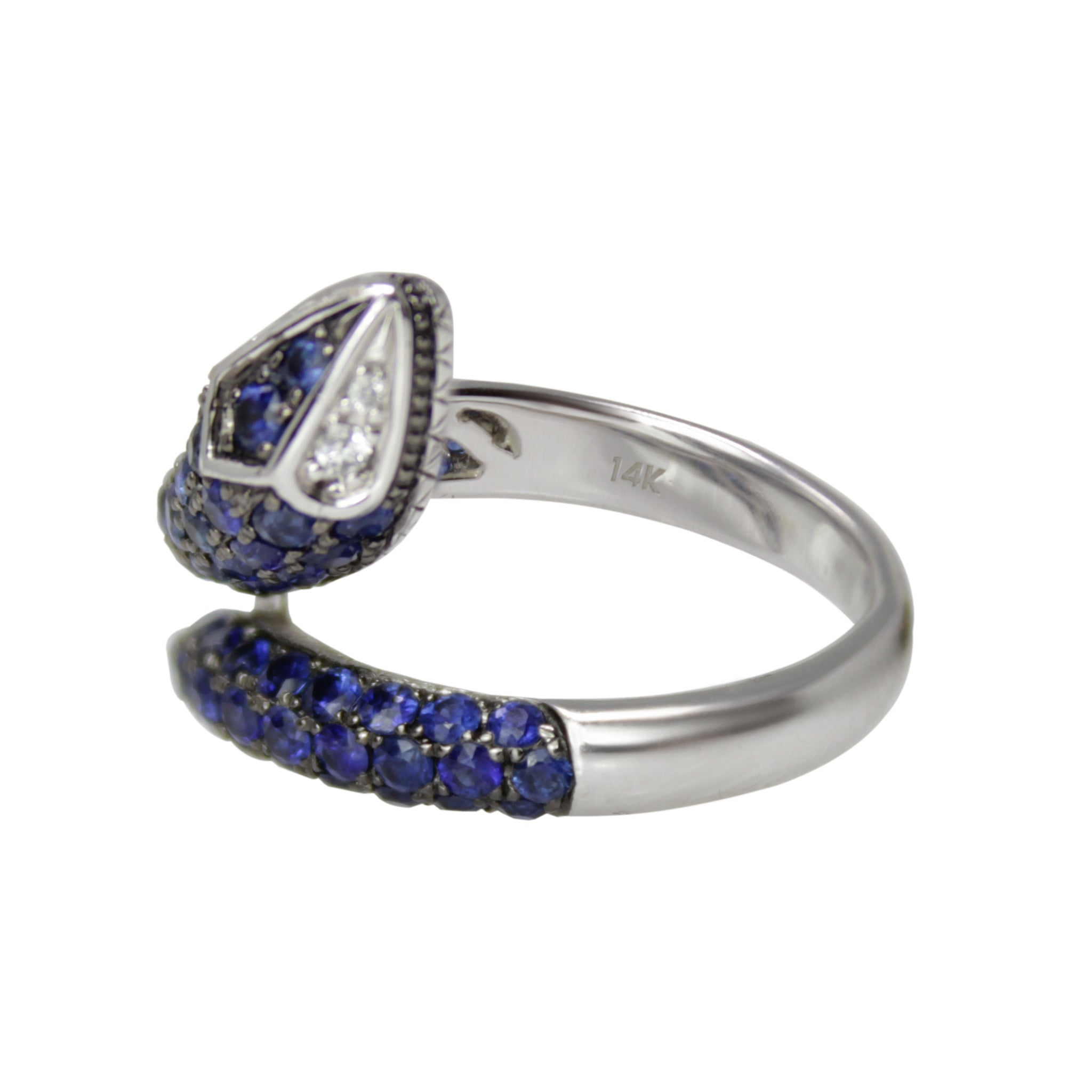 Snake of Wisdom Band - 14k White Gold Blue Sapphire and Diamond Serpent Wrap Ring