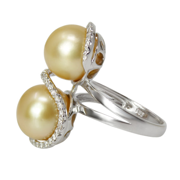 Infinity Pearl Ring - 14k White Gold Dual Gold Pearl and Diamond Ring