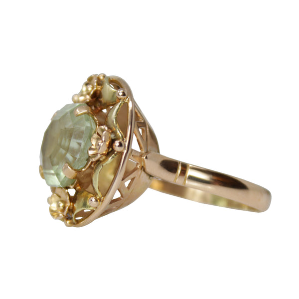 Mystic Garden Ring - 14k Yellow Gold and Peridot Vintage Ring