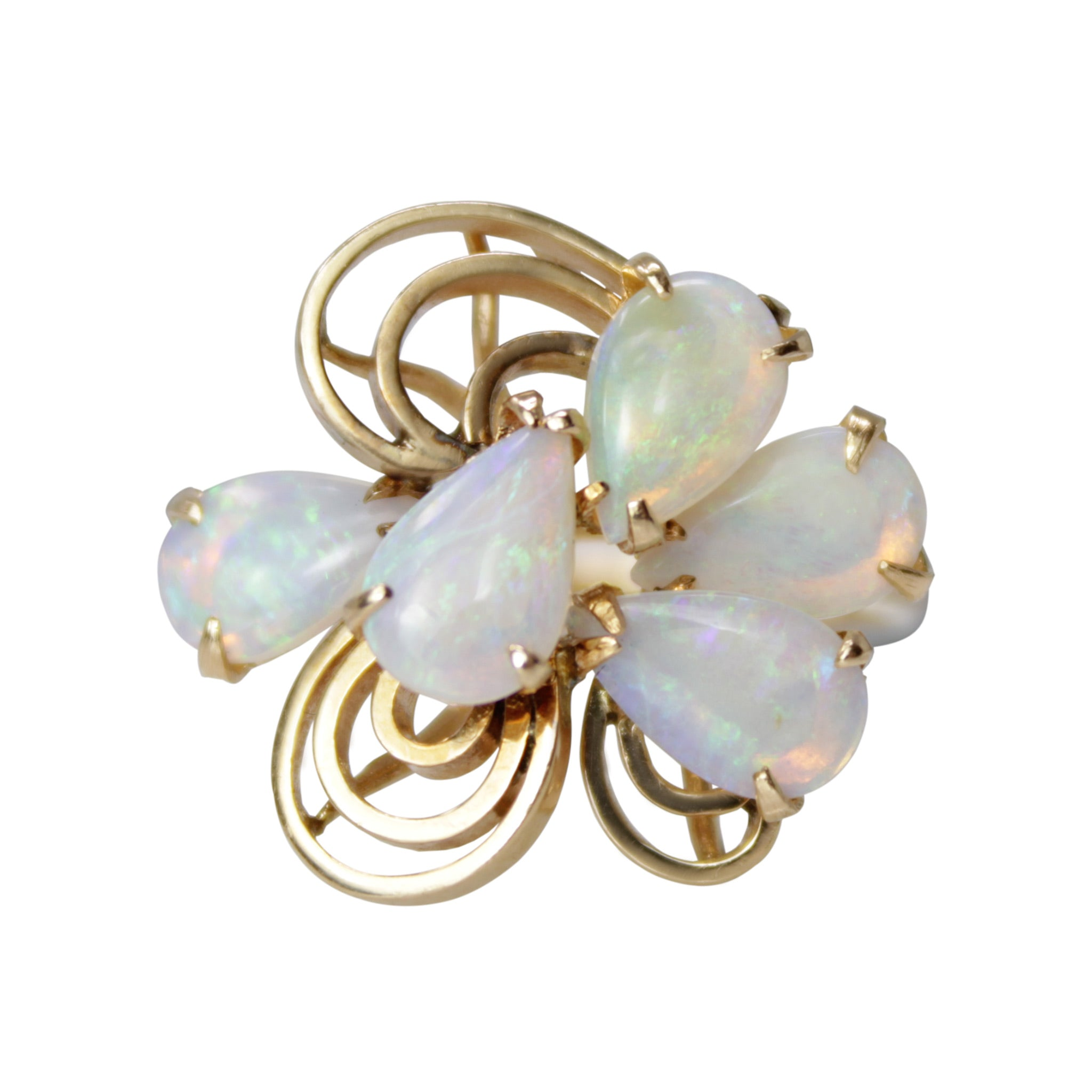 Opal Flower Power - 14k Yellow Gold 5 Pear Opal Ring