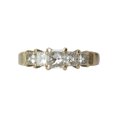 Men's Layered Block Band - 18k White and Yellow Gold Collapsible Ring with Diamonds