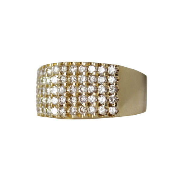 Big Roller Band - Unisex 14k Yellow Gold and 5 Row Diamond Ring