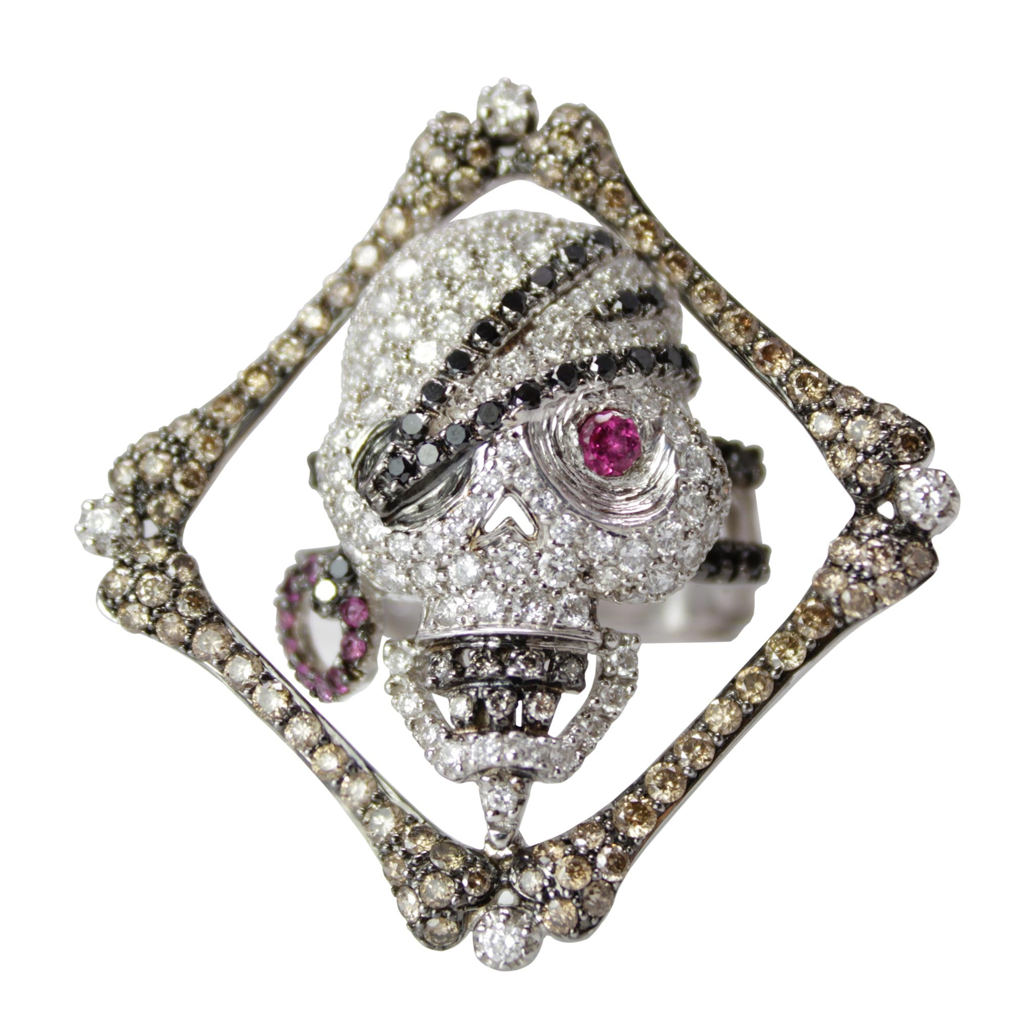 Treasure Hunter - Loree Rodkin 18k White Gold White, Champagne and Black Diamond Pirate Skull Ring