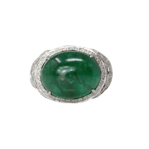 THE GREEN GREEK GODDESS - CABOCHON EMERALD & GRECIAN LEAF DIAMOND RING