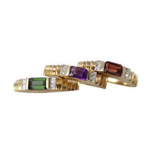 Money, Power and Glory Bands -14k Yellow Gold Ring Set - Garnet Amethyst and Tourmaline Stacking Bands