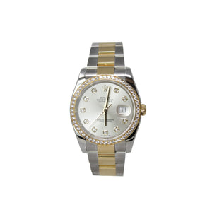 Rolex Date Just Two Tone 18k Yellow Gold and Stainless Steel With Diamond Bezel Watch