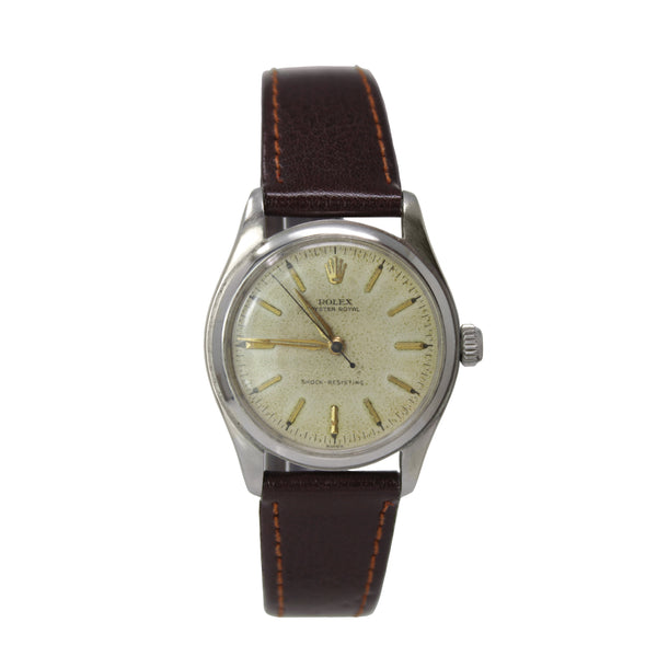 Rolex Vintage Oyster Royal Manuel 31mm Stainless Steel Watch With Leather Strap