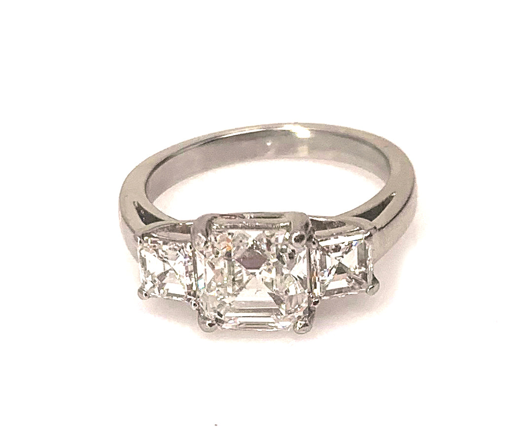Epic Love- GIA Certified 1.09 Ct Asscher Cut G SI2 Diamond Three Stone Engagement Ring