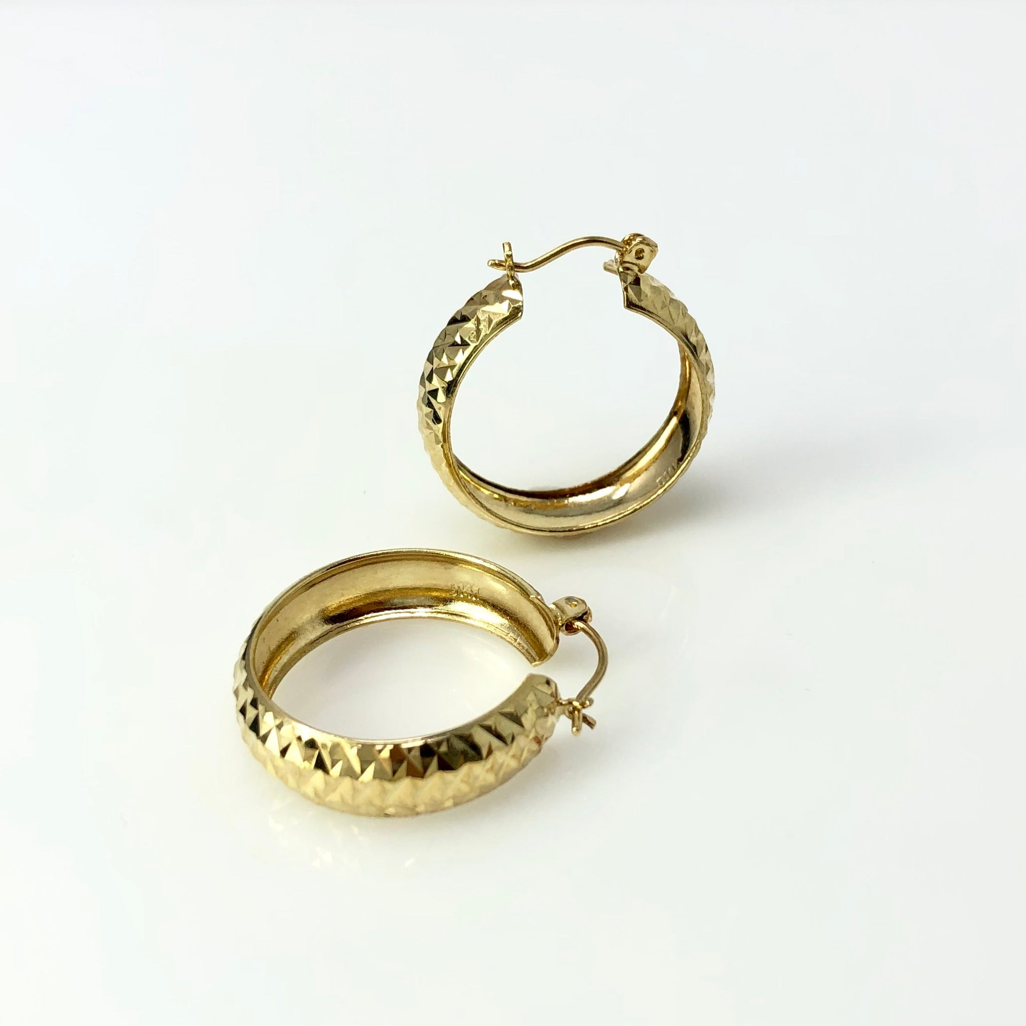 Boho Hoops - 14k Yellow Gold Diamond Cut Hoop Earrings - 4 grams