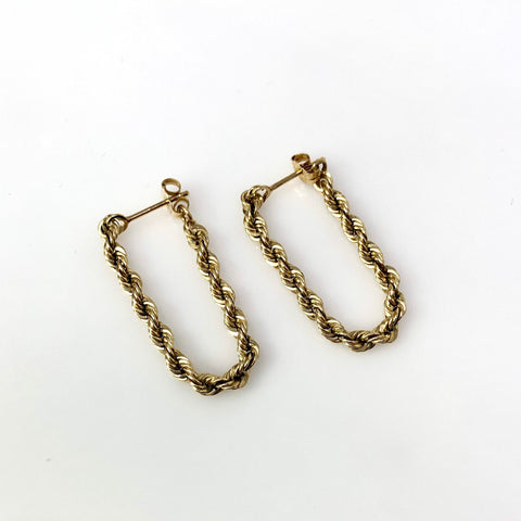 Woven Ear Staple - 14k Yellow Gold Rope Chain Hoop Earrings - 5 grams