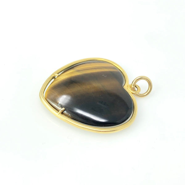 Tiger Heart - 18k Yellow Gold Tiger Eye Heart Pendant