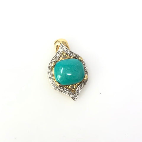 Mirror Inspiration - 14k Yellow Gold and Turquoise Pendant with Diamonds