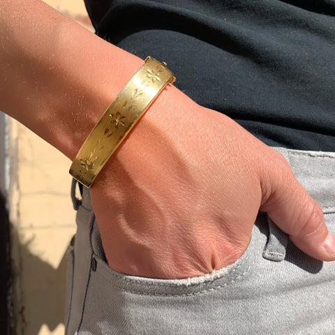 Wonder Woman Cuff - 14k Yellow Gold Bangle with Floral Etching / Chasing