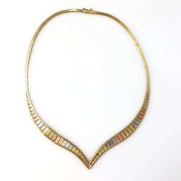 Soaring Sunlight Collar - 14k Tri Color Gold Bracket Necklace with Bark Finish