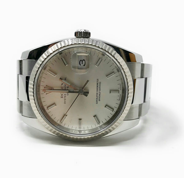 Rolex Date 34 Oyster Stainless Steel And 18k White Gold Watch