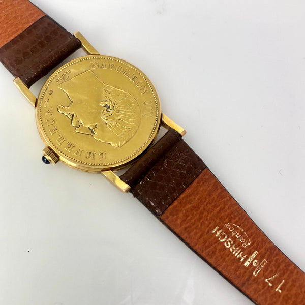 Corum 18k Yellow Gold Empire Francais 1855 Coin Watch