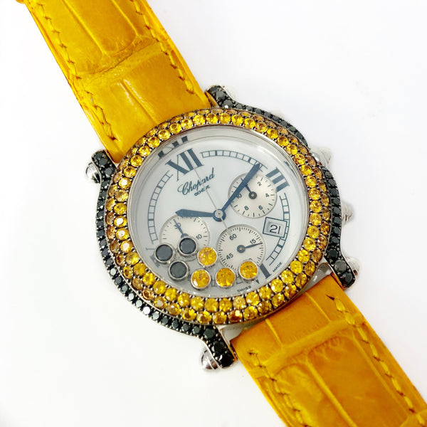 Chopard Happy Sport Chronograph Stainless Steel Black Diamond and Yellow Sapphire Watch