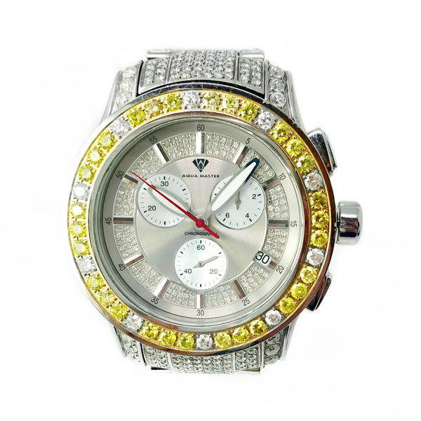 Aqua Master Chronograph Men's Large Stainless Steel Watch With Diamonds White and Yellow
