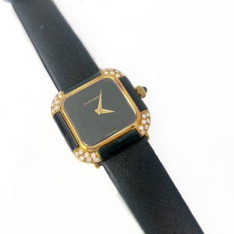 Movado Elegant Ladies 18k Yellow Gold Diamond and Onyx Square Face Watch Great Deal