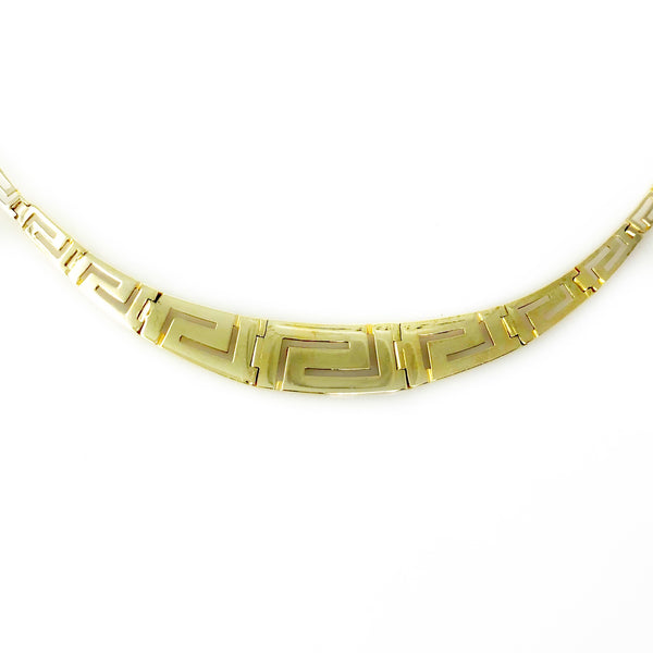 Grecian Goddess Collar - 14k Yellow Gold Greek Key Link Necklace