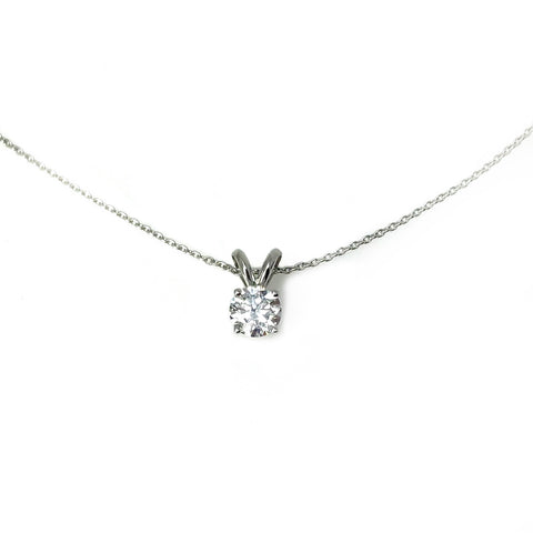 Diamond Solitaire Pendant - 14k White Gold Diamond Necklace