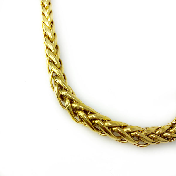 Gold Rope Chain Necklace - 14k Yellow Gold Woven Chain Necklace