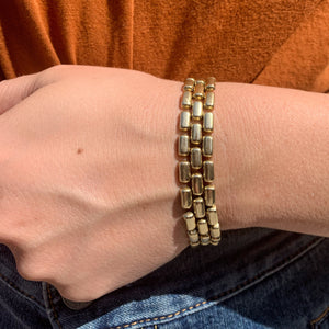 Ladies Gold Link Bracelet - 14k Yellow Gold Panther Style Bracelet