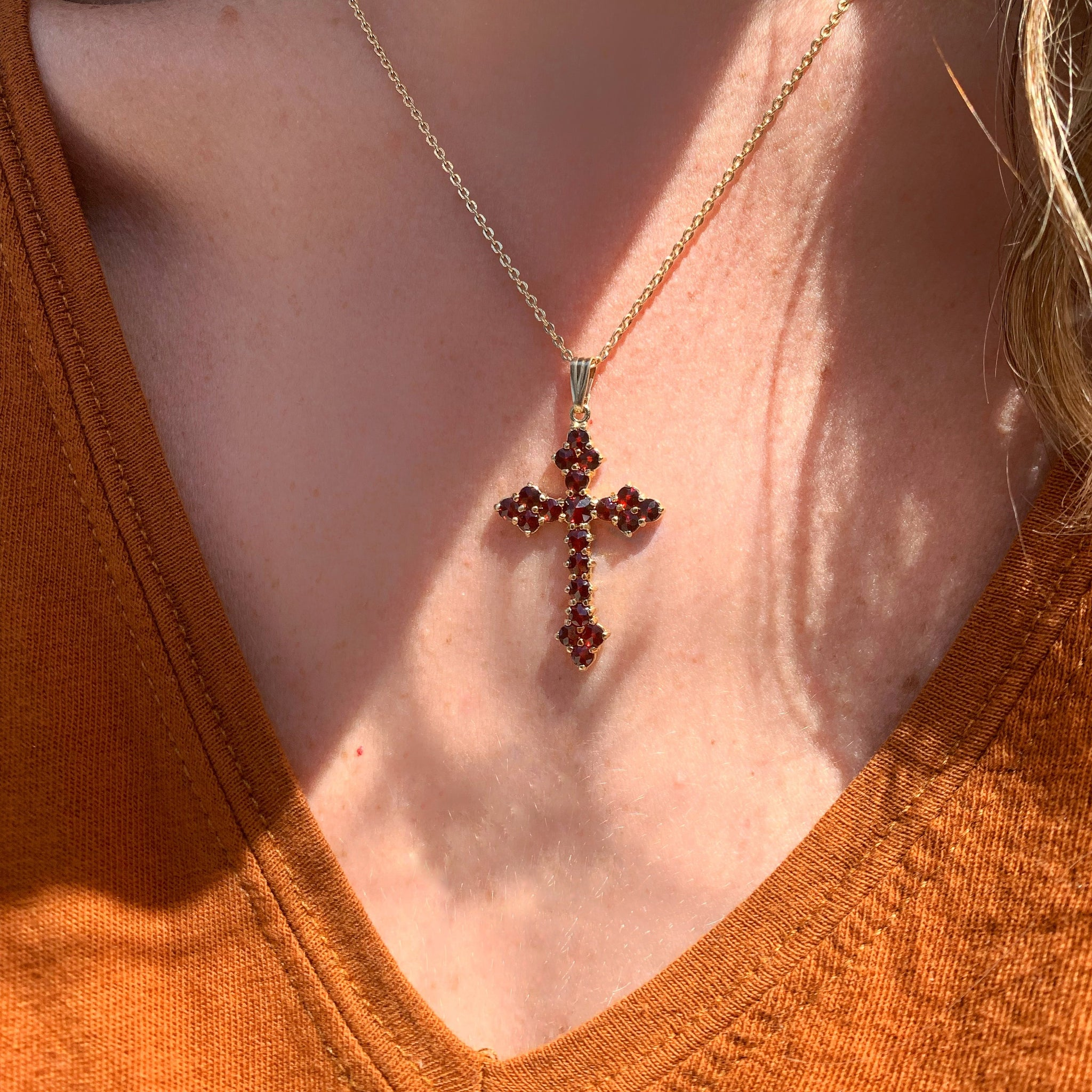 Survivor Cross - 14k Yellow Gold Garnet Cross Pendant