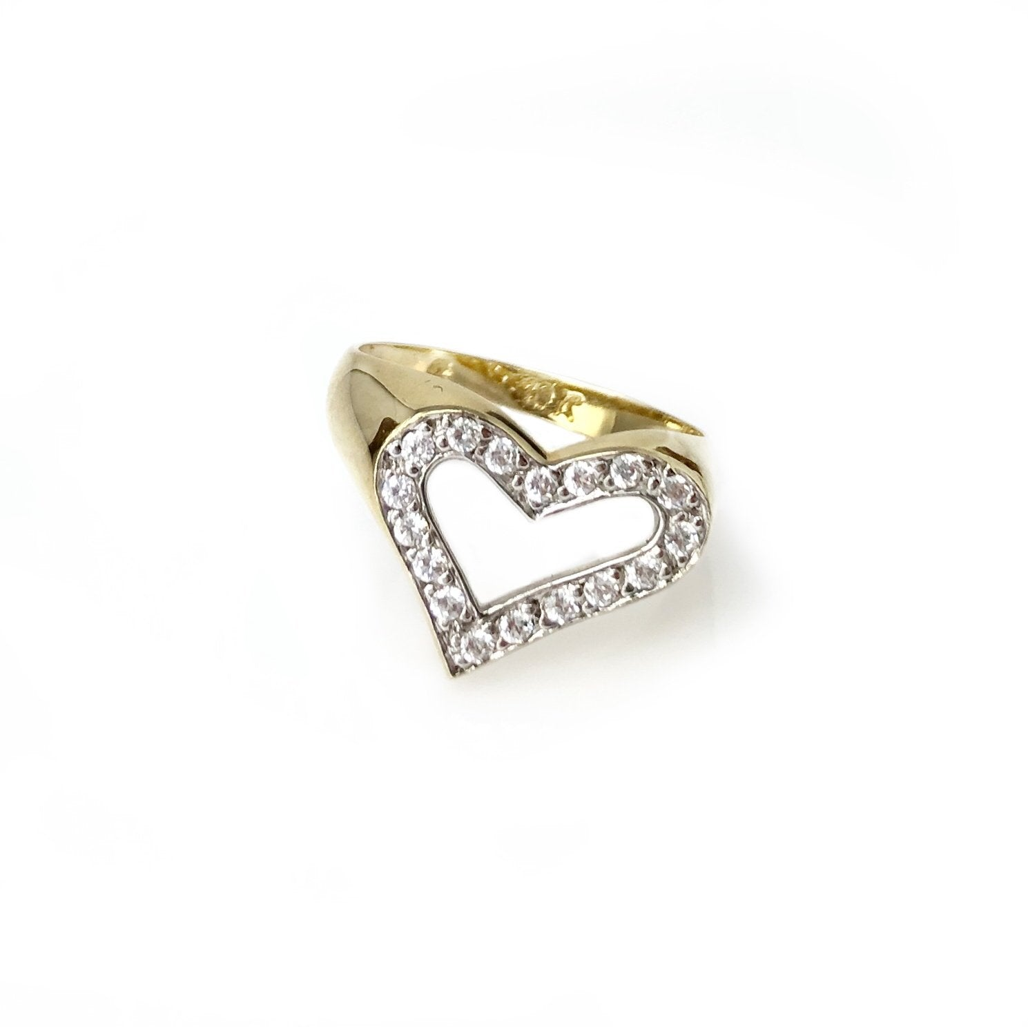 Sweet but Trouble - 10k Yellow Gold and Diamond Heart Ring