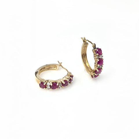 Crimson Crush - 14k Yellow Gold Ruby and Diamond Huggie Hoop Earrings