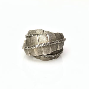 Sterling Silver and Round Brilliant Diamond Men's Ring