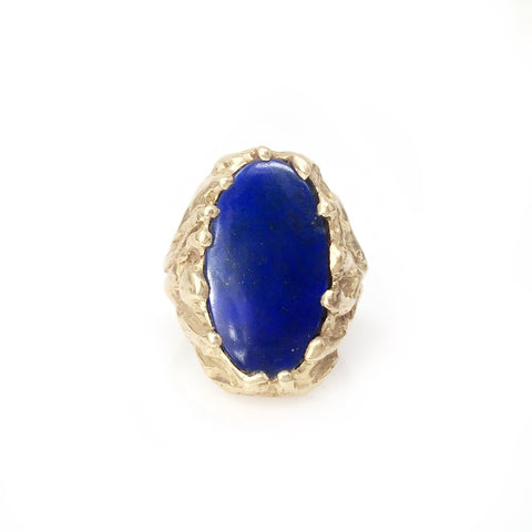 Royal Ring - 14k Yellow Gold Oval Lapis Men's Ring