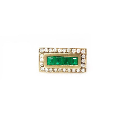 Money Band - 14k Yellow Gold Emerald And Diamond Men's Ring