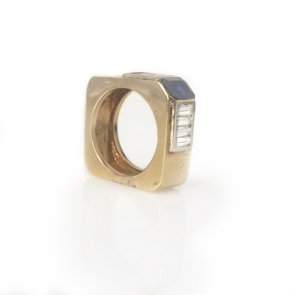 The Band Of Distinction -14k Yellow Gold Sapphire Diamond Men's Square Ring