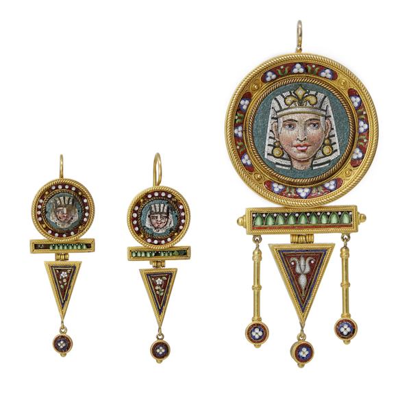 Dancing Pharaoh of Light Earring Set - Antique Micro Mosaic Earrings and Slide Pendant Necklace Set
