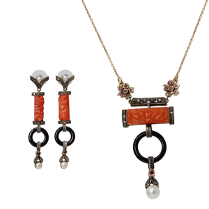 Idolized Creation Set - Art Deco Onyx, Diamond and Carved Coral 14k White Gold Long Necklace and Earring Set