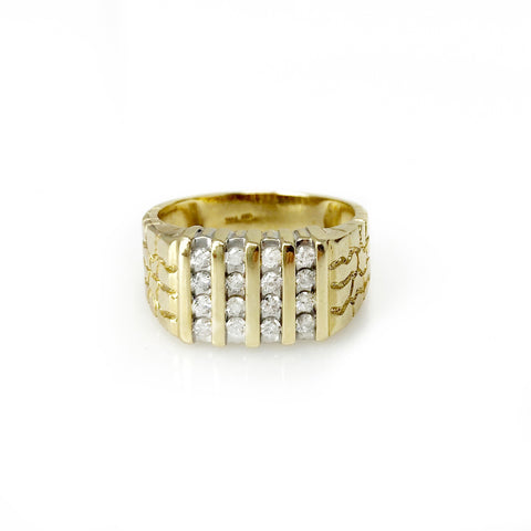 Stacking Up Band - 14k Yellow Gold Round Brilliant Diamond Men's Ring