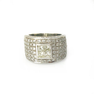 Power Player Band - 14k White Gold - Round Brilliant and Princess Diamond Men's Ring