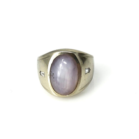 Balance and Clarity Band - 14k White Gold Lavender Cats Eye Cabochon Sapphire Men's Or Woman's Ring With 2 Diamonds