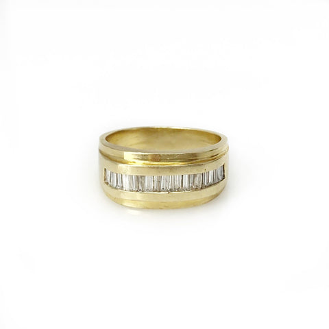 Illustrious Band - 14k Yellow Gold and Diamond Baguette Tapered Men's Ring