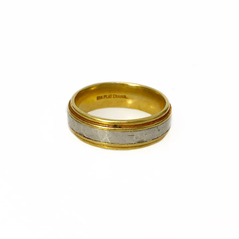 Divine Band - 18k Yellow Gold and Platinum Men's Ring
