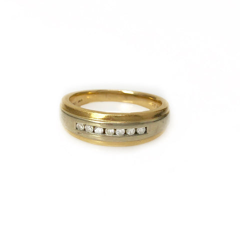 Every Day Band - 14k Yellow Gold and White Gold Diamond Men's Ring