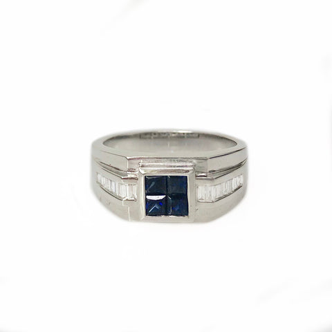 Power Point Band - 14k White Gold Diamond and Blue Sapphire Men's Ring