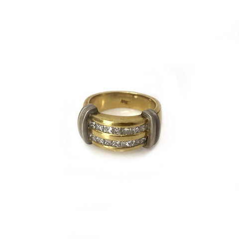 Polished but Tough Band - 18k White and Yellow Gold Two Tone Diamond Men's Ring