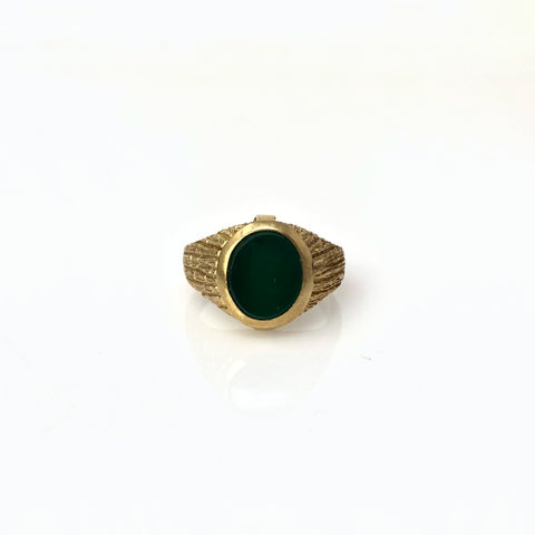 9k Yellow Gold Synthetic Green Men's Ring
