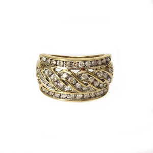 Unite Band - 14k Yellow Gold and Diamond Men's Unisex Ring