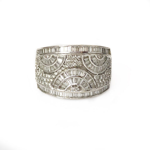 The Gatsby Band - 14k White Gold and Diamond Men's Ring