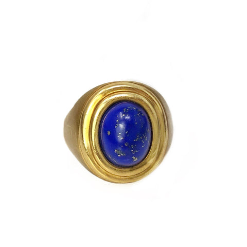 Band Of Knowledge - 18k Yellow Gold Lapis Cabochon Ring